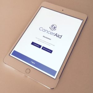 CancerAid app. Photo courtesy of Dr Nikhil Pooviah, Founder of CancerAid